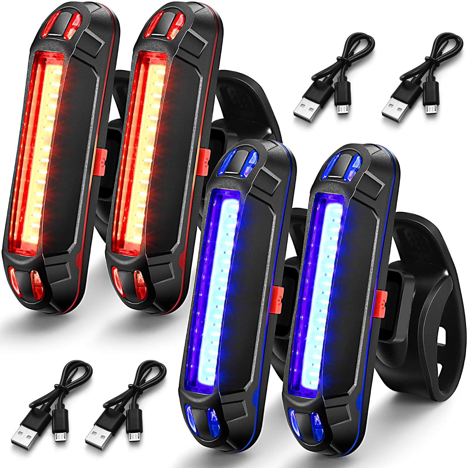 4 Pieces Bike Rear Tail Light USB Rechargeable Bicycle Taillight Ultra Bright Bicycle LED Safety Light Waterproof Cycling Taillight 7 Light Modes for Road Mountain Bike
