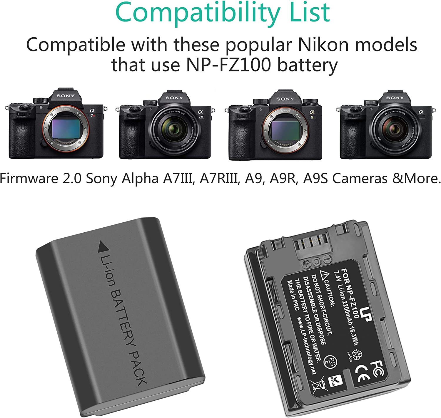 A9R Alpha 9 Alpha 9S A7R3 Alpha 9R A7RIII Sony A9 a7R IV 1 x Charger TELESIN FZ100 Dual USB Charger with SD Card Reader for Sony a6600 a7 III