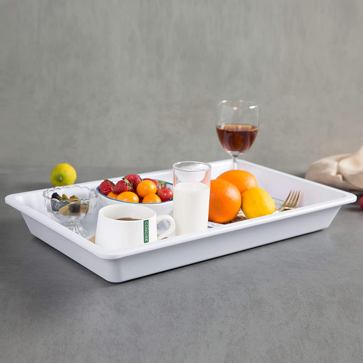 Melamine Serving Tray - Large Kitchen Tray for Outdoor and Indoor Use, 20 3/4 Inch, White
