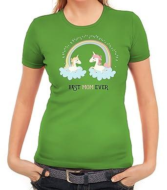 Einhorn Muttertag Damen T-Shirt mit Unicorn Best Mom Ever von ShirtStreet,  Größe: