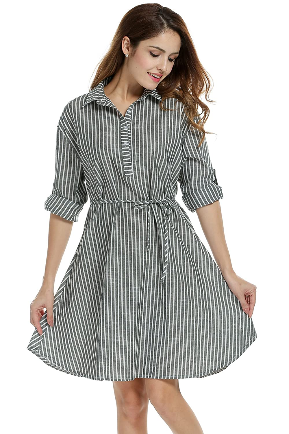 Meaneor Womens Striped Linen Shirt Dress With Waist String At