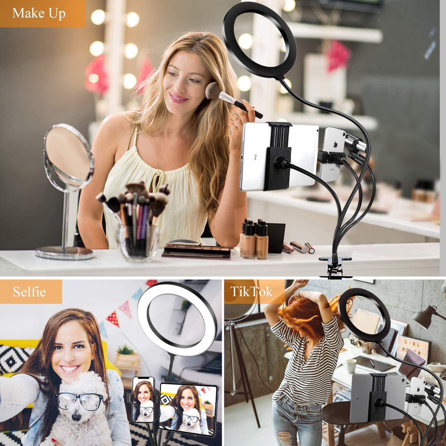 8 Selfie Ring Light with Cell Phone Holder Stand KNGUVTH Dimmable LED Camera Ring Light with Tablet//Mic Holder and Flexible Arms for Live Stream//Makeup//YouTube//Facebook Compatible w//iPhone Android