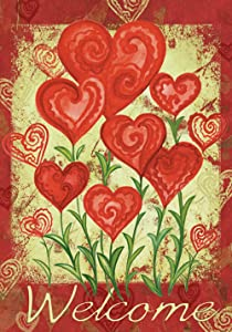 Toland Home Garden Garden Hearts 12.5 x 18 Inch Decorative Love Valentine Day Welcome Garden Flag