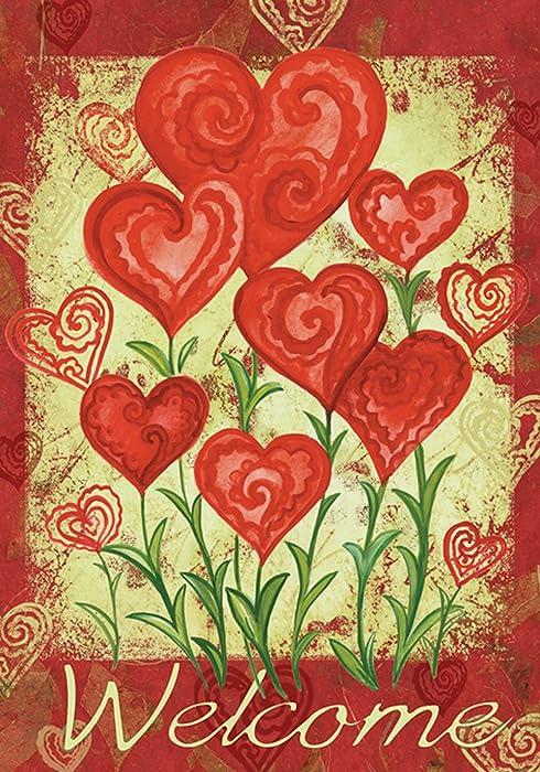 Toland Home Garden Garden Hearts 28 x 40 Inch Decorative Love Valentine Day Welcome House Flag - 102585