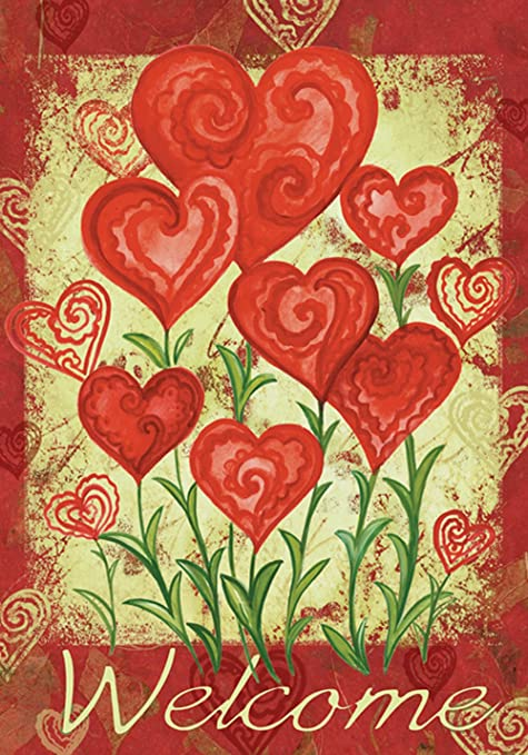 Toland Home Garden Garden Hearts 28 X 40 Inch Decorative Love Valentine Day  Welcome House Flag