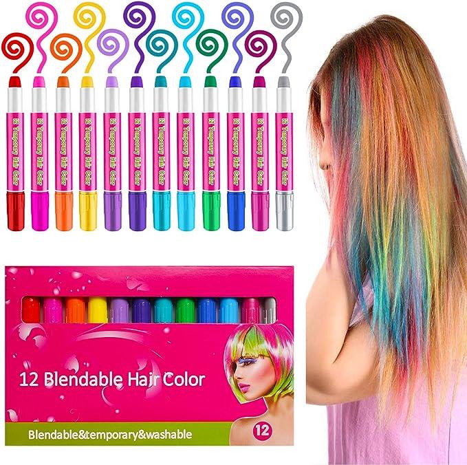 Tiza de Pelo, 12 Colores Tizas para Teñir Temporalmente el Pelo, Juego De Regalo De Tizas De Pelo para Niñas y Cosplay DIY