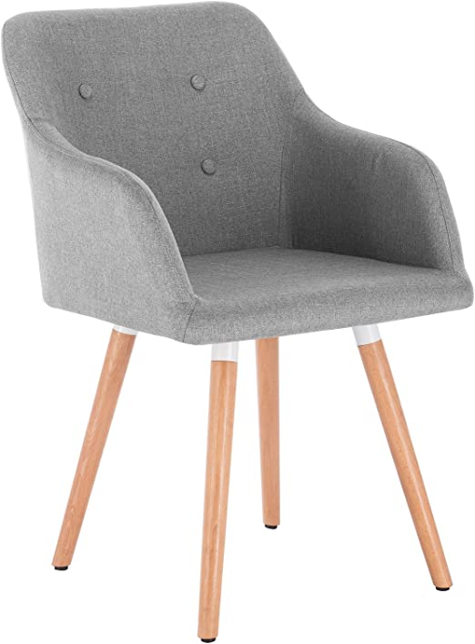 WOLTU 1x Esszimmerstühle Küchenstuhl Wohnzimmerstuhl Design Stuhl Polsterstuhl mit Armlehne Leinen Massivholz Hellgrau BH88hgr 1