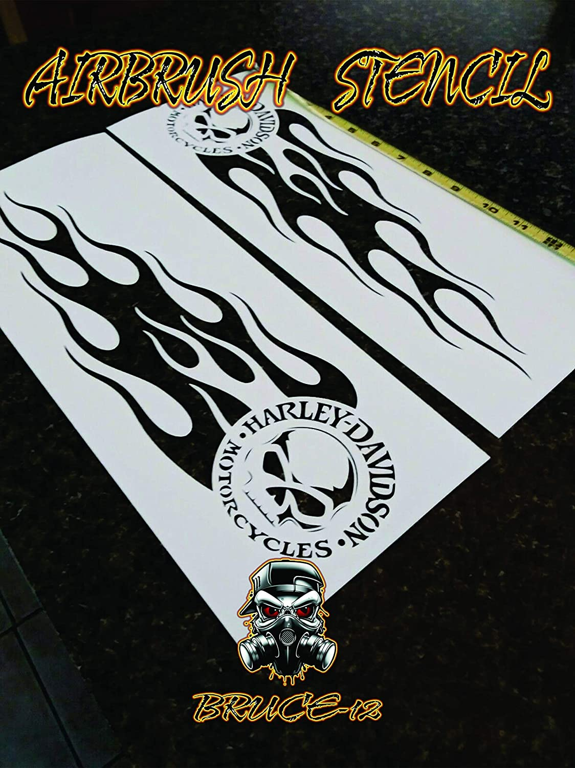 Amazon Com Flames Airbrush Stencil Motorcycle Tank Flames