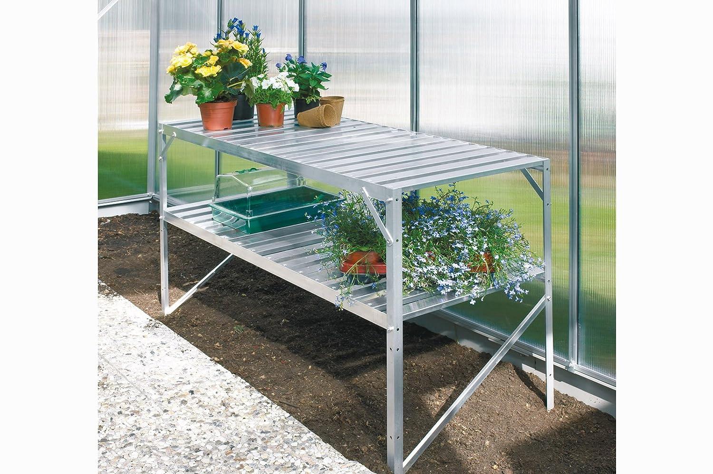 Vitavia Aluminium-Tisch 2 Ebenen blank eloxiert