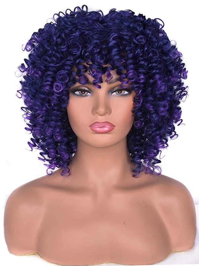 Lizzy Short Afro Curly Wigs For Black Women Full Synthetic Natural Blue With Purple Afro Kinky Curly Wig With Bangs Shoulder Length Heat Resistant Wigs For Daily Use Beauty Amazon Com