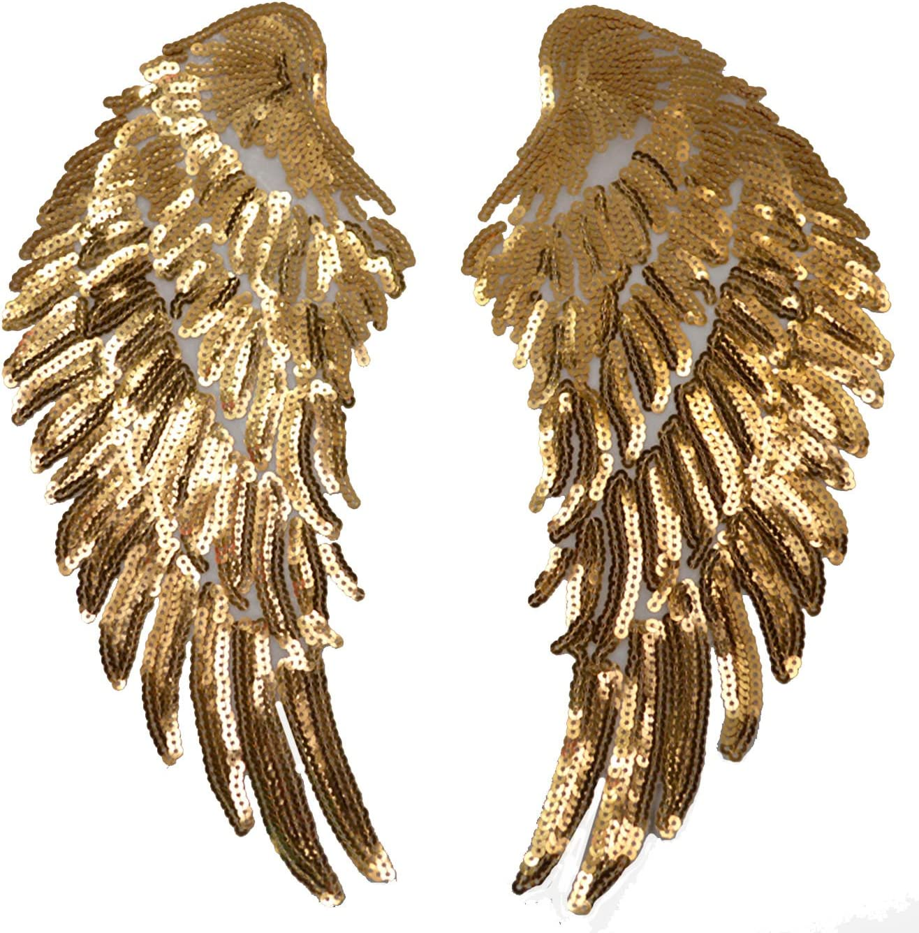 Iron On Patch Applique Meliya 1 Pair Sequins Angel Wings Iron On Patch Diy Embroidered Clothes Decoration Gold Amazon Co Uk Kitchen Home