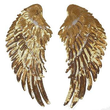 Parche para planchar, Meliya 1 par de lentejuelas, alas de ángel, parche para