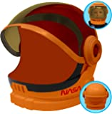 Astronaut Orange Helmet with Movable Visor Pretend Play Toy Set for School Classroom Dress Up, Role Play Accessory…