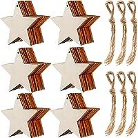 60 Piezas de Estrella de Madera Natural Adornos