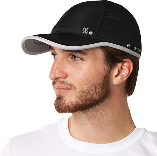 Skins Mens Run Cap Black Sports Running Breathable Reflective Lightweight