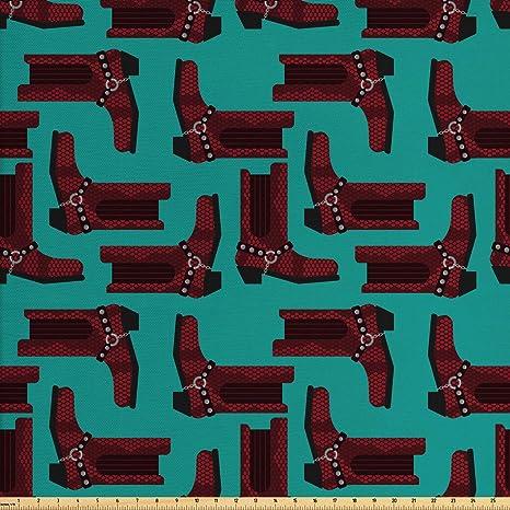 Amazon Com Lunarable Western Fabric By The Yard Cartoon Style