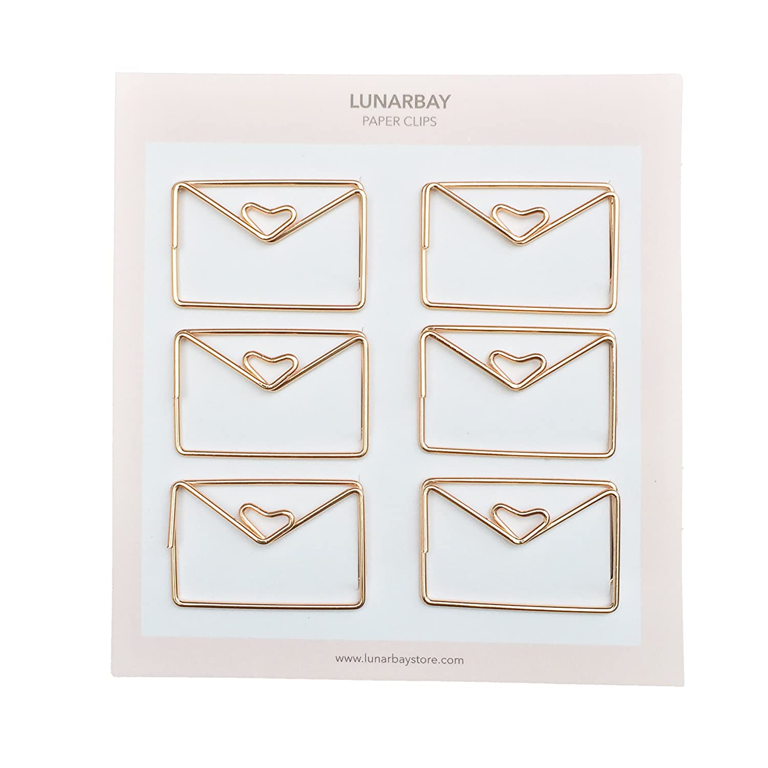 6 x Envelope Paper Clips (Rose Gold) / Cute Paper Clips/Cute Binder Clips/Best Seller/Best Selling Paper Clips/Lunarbaystore.com