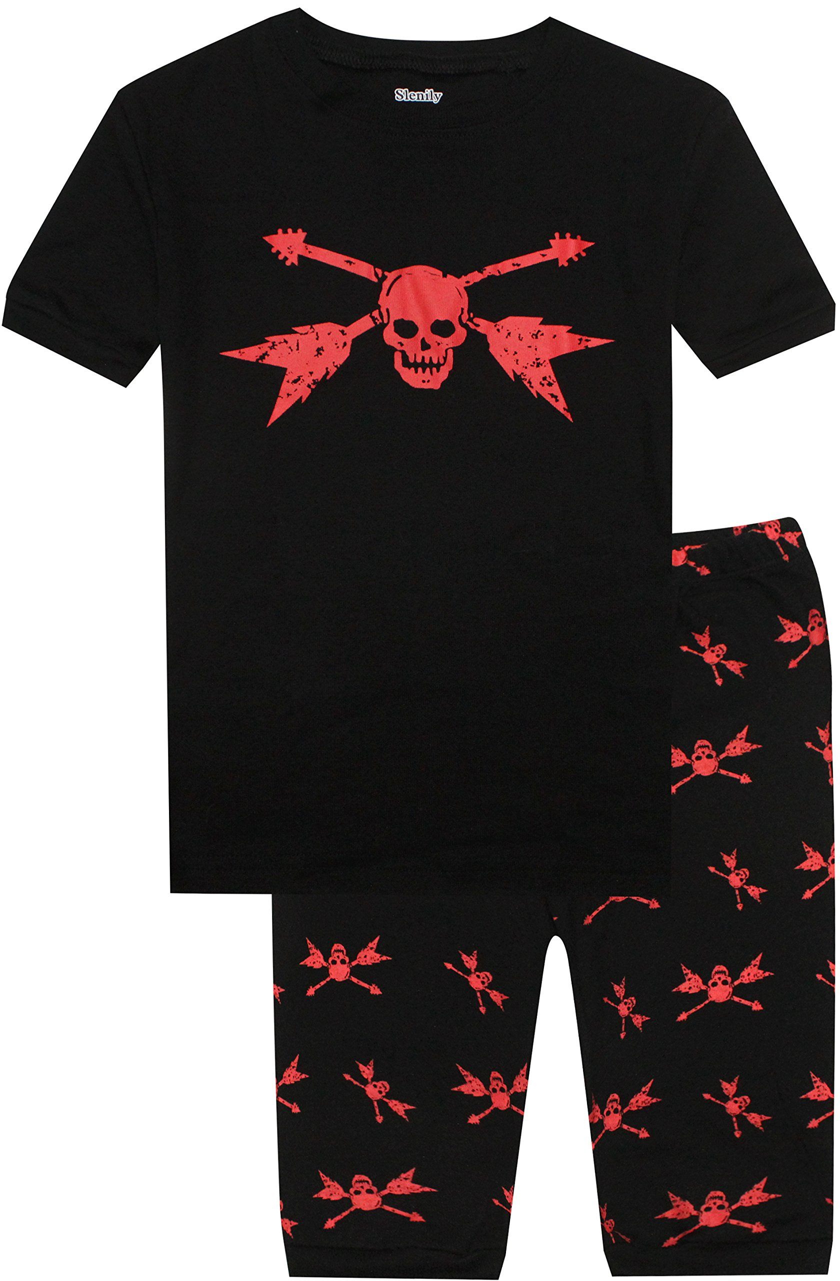 Slenily Boys Shorts 2 Piece Pajamas Set Skeleton Black 100% Cotton Toddler Kids Sleepwear Size 7
