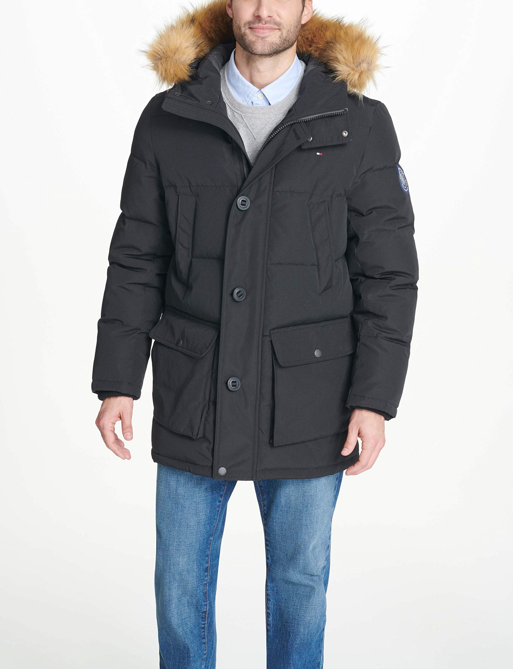 Tommy Hilfiger Men's Arctic Cloth Full Length Quilted Snorkel with Removable Faux Fur Trimmed Hood and Ultra Loft Isulation, Black, L by Tommy Hilfiger