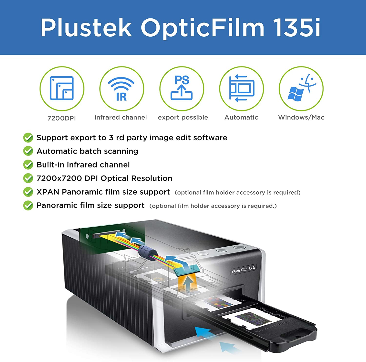 Plustek OpticFilm 135i - Automatic Film & Slide Scanner, Batch converts 35mm Slides & Film Negatives, Support 3rd Party Editing Software Export with 7200 dpi Resolution and Infrared Dust/Scratch Remo: Electronics