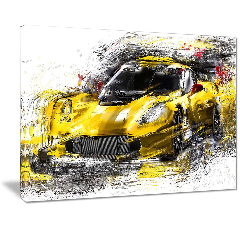 Car Canvas Art Print 32x16 0 Digital art PT2639-32-16 Black and Yellow Speedster
