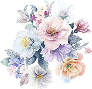 RW-D96 3D Peony Flower Wall Decals Watercolor Flowers Wall Sticker DIY Removable Peel and Stick Rose Floral Wall Art Decor for Kids Baby Girls Bedroom Living Room Nursery Kitchen Office Decoration