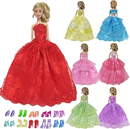 10 Pcs Fashion Handmade Dresses Clothes For Doll Style Random Color Toys
