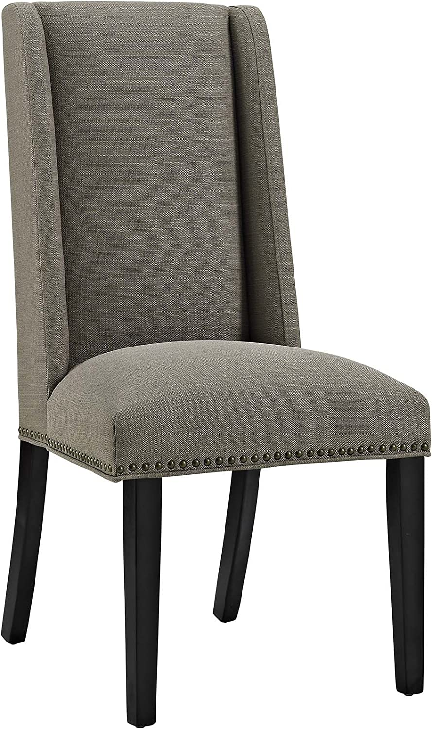 Modway MO- Baron Modern Tall Back Wood Upholstered Fabric, Dining Chair, Granite
