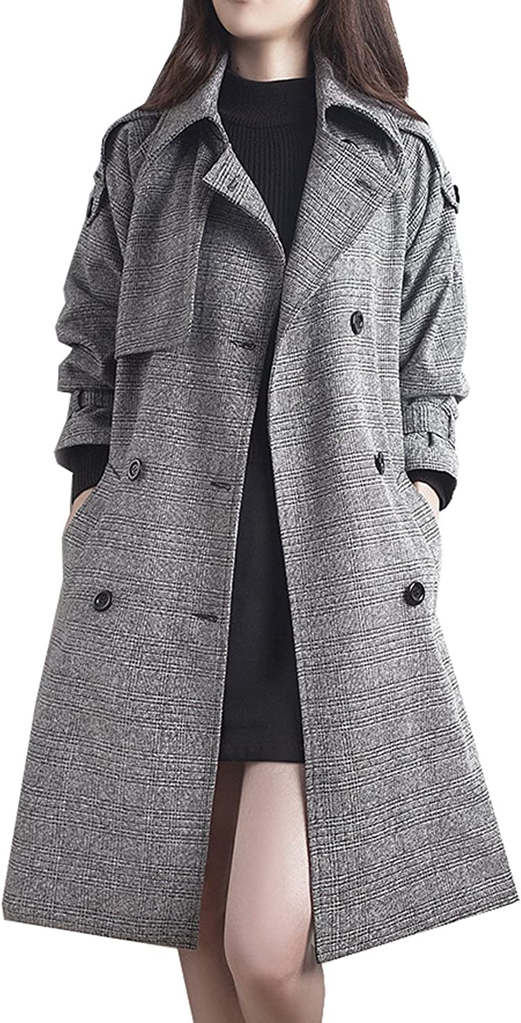 Womens Plus Size Plaid Lapel Double Breasted Belted Trench Cardigan Outwear Jacket