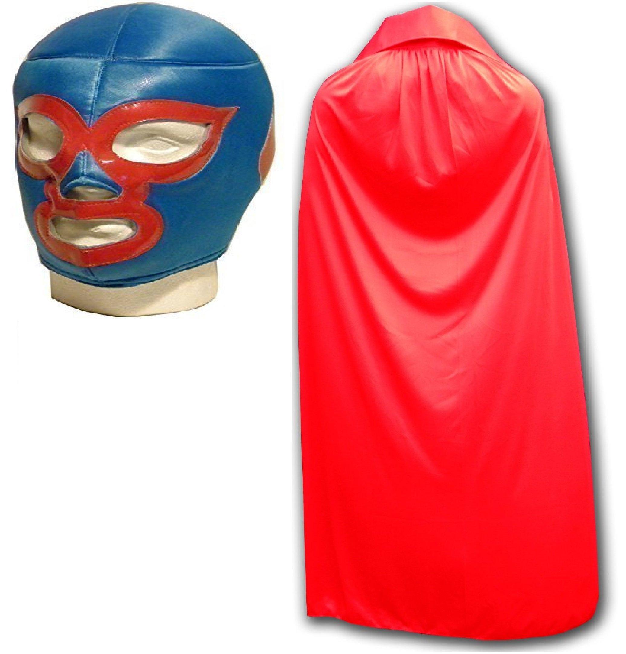 WRESTLING MASKS UK Men's Nacho Libre Luchador Wrestling Mask Cape One Size Red