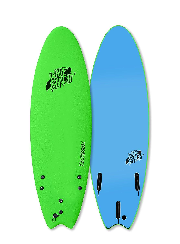 Wave Bandit Performer Tri Surfboard, Neon Green, 6 0