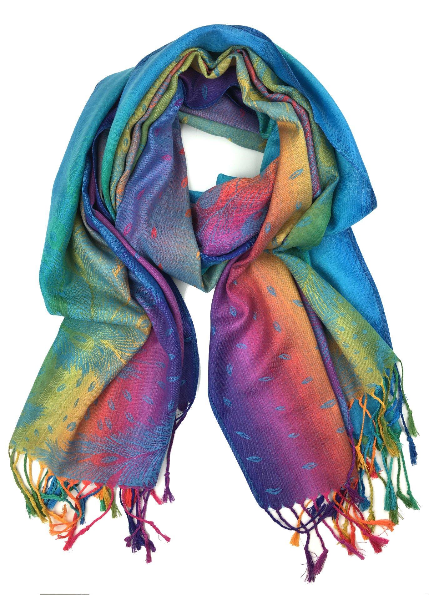 Plum Feathers Tapestry Ethnic Paisley Pattern Pashmina Scarf blue rainbow