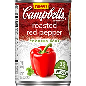 Campbell's Cooking Soup, Roasted Red Pepper, Perfect for Cooking Dinner, 10.5 Ounce Can (3 Pack)