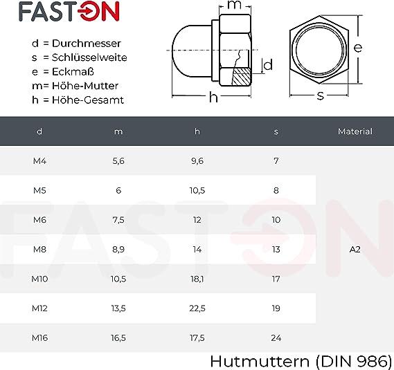 5 St/ück M12 Sechskant-Hutmuttern selbstsichernd - DIN 986 Edelstahl A2 V2A rostfrei Eisenwaren2000