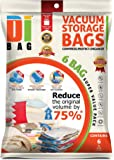 DIBAG ® 6 Vacuum Compressed Storage Saving Space Bags 100 X 80 CM For Clothing, Duvets, Bedding, Pillows, Curtains & More. Improved Version 2014