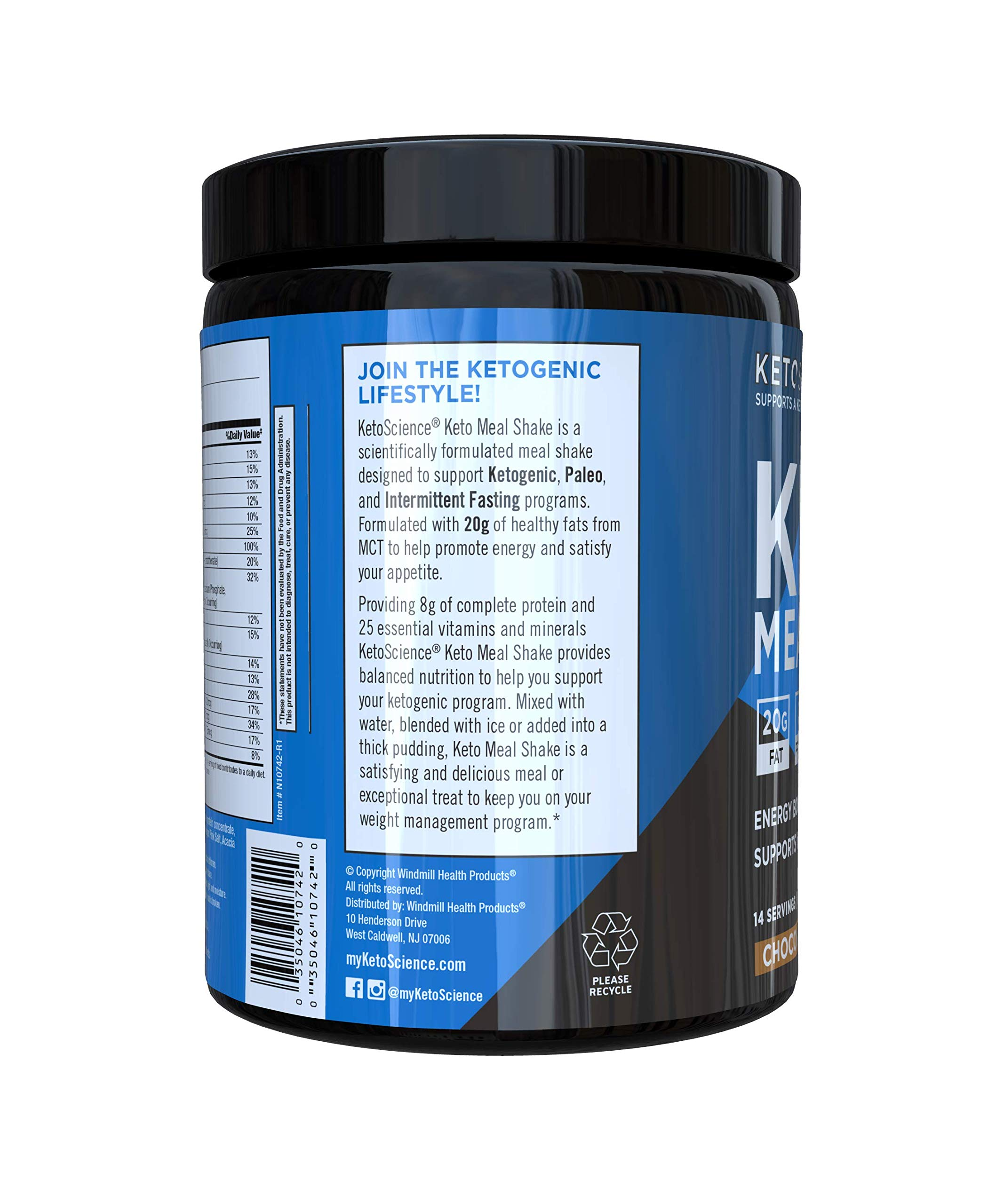 Keto Science Ketogenic Meal Shake Chocolate Dietary Supplement, Rich in MCTs and Protein, Keto and Paleo Friendly, Weight Loss, (14 servings), 20.7 oz Packaging May Vary