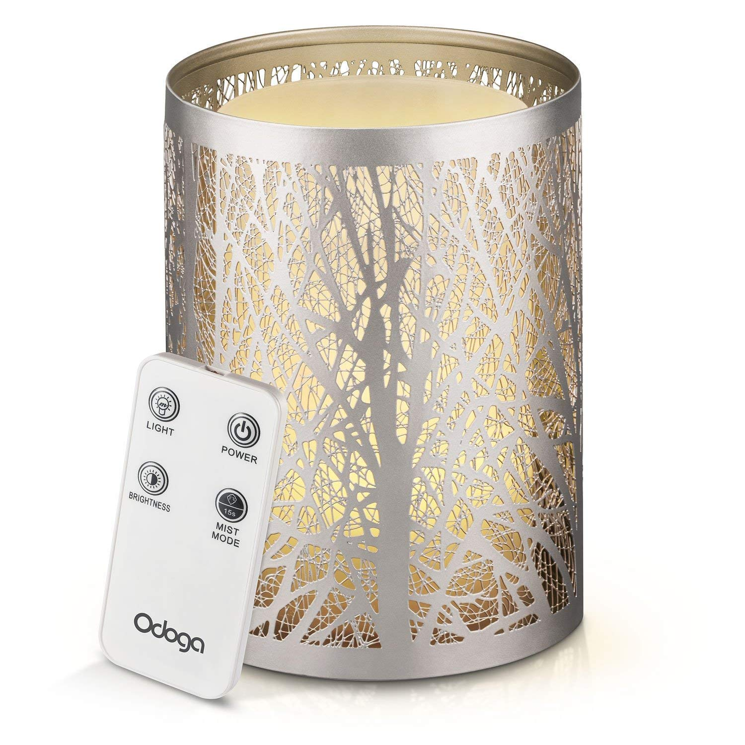 Odoga Aromatherapy Essential Oil Diffuser, 100 ml Ultrasonic Whisper Quiet Cool Mist Humidifier with Warm White Color Candle Light Effect, Decorative Silver Iron Cover & Remote Control Oak