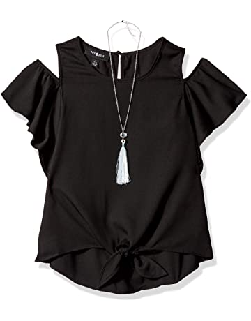 709ef3e04fbb15 Amy Byer Girls  Big Flutter Sleeve Cold Shoulder Top with Necklace