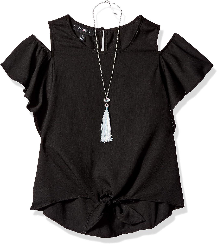 Amy Byer Girls Flutter Sleeve Cold Shoulder Top with Necklace