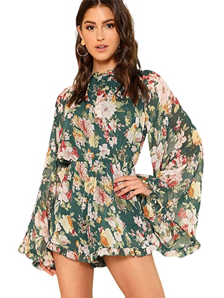 64e8fa119da Romwe Women s Floral Printed Ruffle Bell Sleeve Loose Fit Jumpsuit Rompers  Multicolor Green X-Small