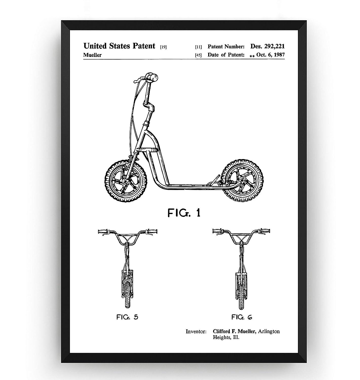 Scooter 1987 Patent Print - Póster Con Diseños Patentes Decoración de Hogar Inventos Carteles - Marco No Incluido: Amazon.es: Handmade
