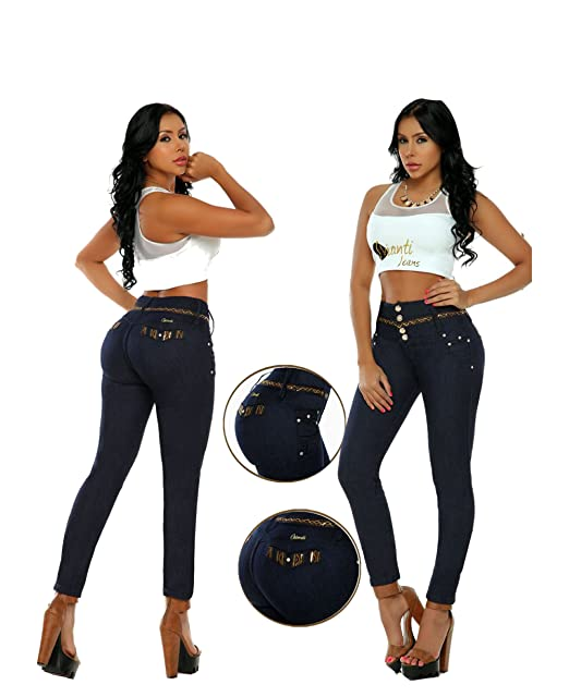 Amazon.com: 4 Botones Cintura Alta/push-up-jeans- Wonder ...