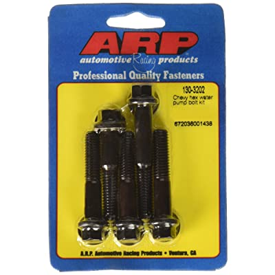 ARP 1303202 Water Pump Bolt Kit, Hex Style, Chrome Moly Steel With Black Oxide Finish, For Select Chevrolet V8 Applications: Automotive
