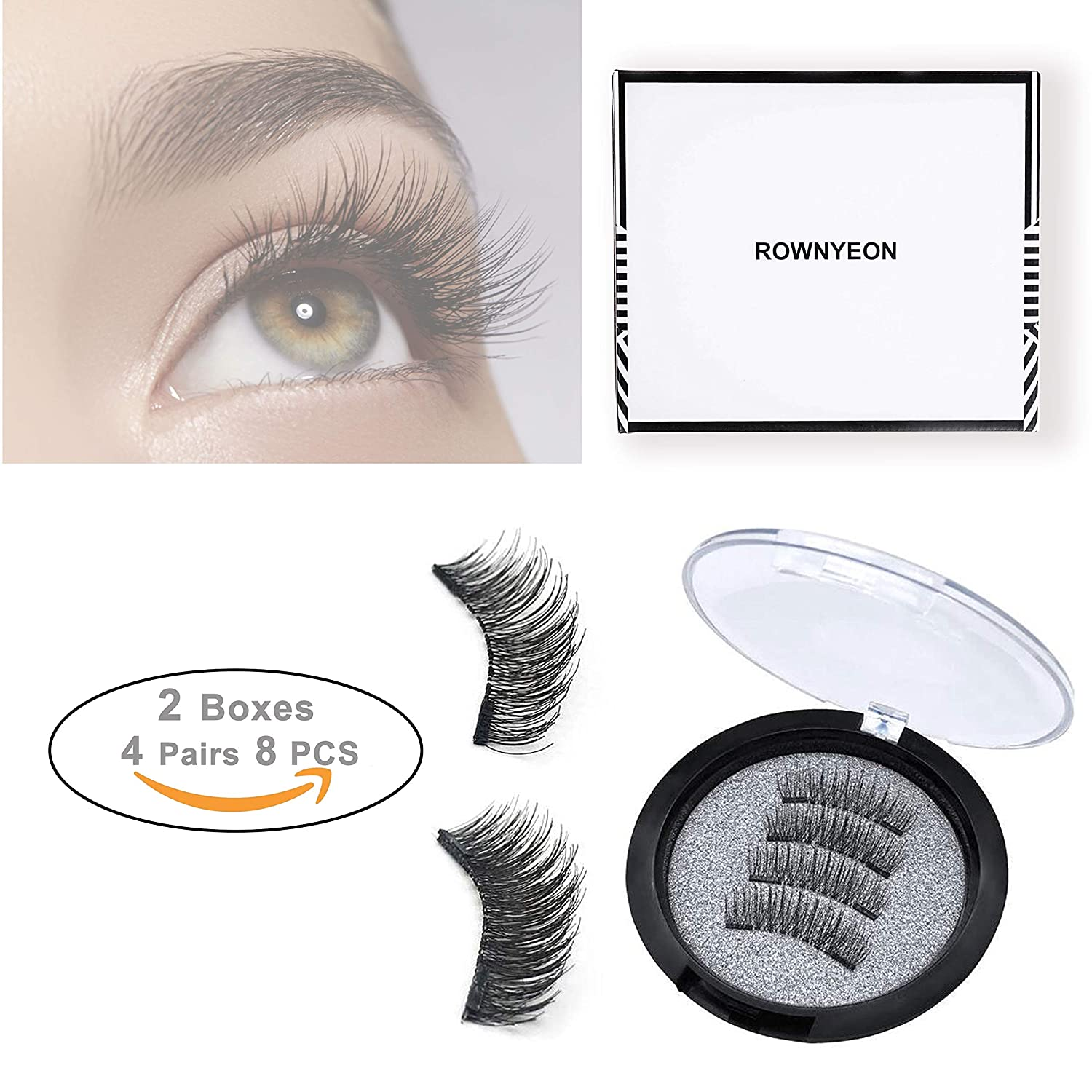 ROWNYEON Magnetic Eyelashes Dual Magnetic False Eyelashes Premium Quality for Natural Look Ultra Thin 3D Fiber Reusable Fake Lashes Extension for Natural Perfect for Round Eyes, 2 Pairs,8Pieces