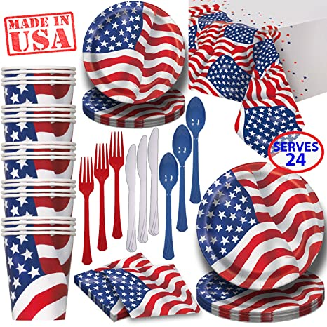 American Flag Paper Dinnerware for 24 - 2 Size Plates Cups Napkins  Cutlery  sc 1 st  Amazon.com & Amazon.com: American Flag Paper Dinnerware for 24 - 2 Size Plates ...