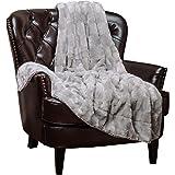 "Chanasya Super Soft Fuzzy Fur Elegant Faux Fur Rectangular Embossed Pattern With Fluffy Plush Sherpa Cozy Warm Light Gray Throw Blanket (50"" x 65"") - Ice Silver"