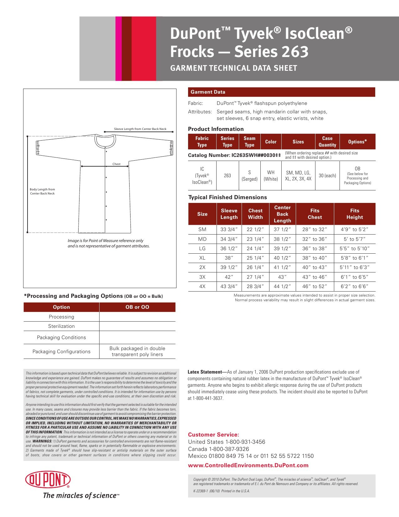 DuPont Tyvek IsoClean IC263S Snap Front Frock, White, Large (Pack of 30) by IsoClean (Image #1)
