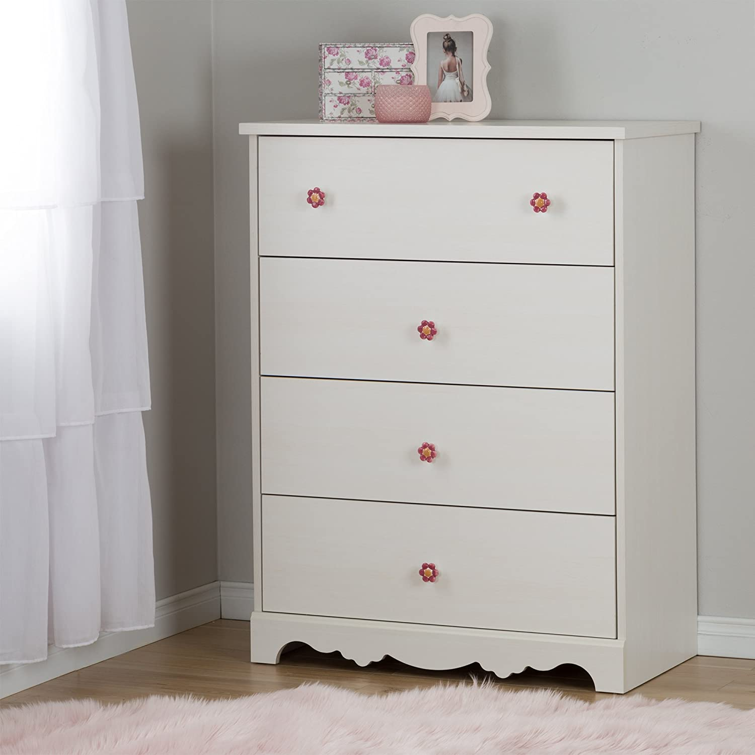 South Shore Furniture Lily Rose 4-Drawer Chest, White Wash 10077