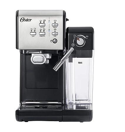 OSTER Cafetera espreso Prima Latte II, 19 Bares, con Tratamiento de Leche, Plata