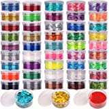 48 Boxes Glitter Set, 24 Boxes 5g Fine Glitter&24 Boxes Holographic Chunky Glitter Sequins, Iridescent Glitter Flakes for Nai